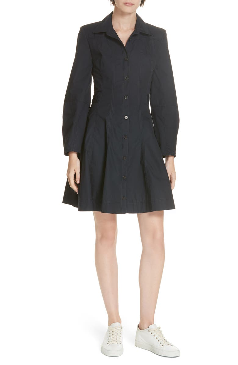 DEREK LAM 10 CROSBY Paneled Cotton Shirtdress, Main, color, 401