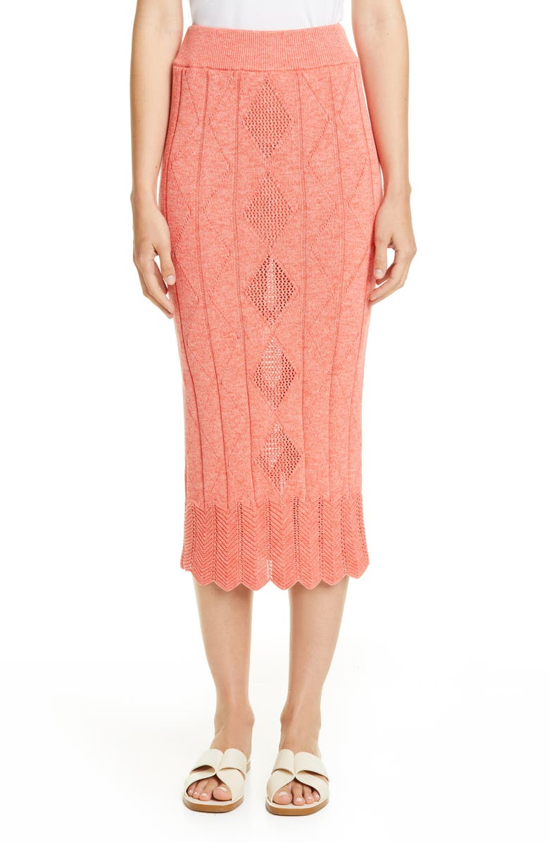 VICTOR GLEMAUD Midi Sweater Skirt, Main, color, BLOOD ORANGE