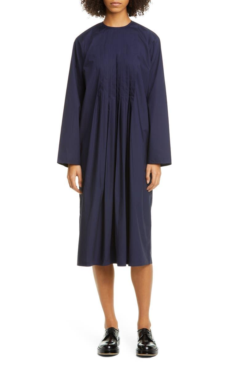SOFIE D'HOORE Sofi D'Hoore Pintuck Long Sleeve Cotton Midi Dress, Main, color, BLUE MARINE