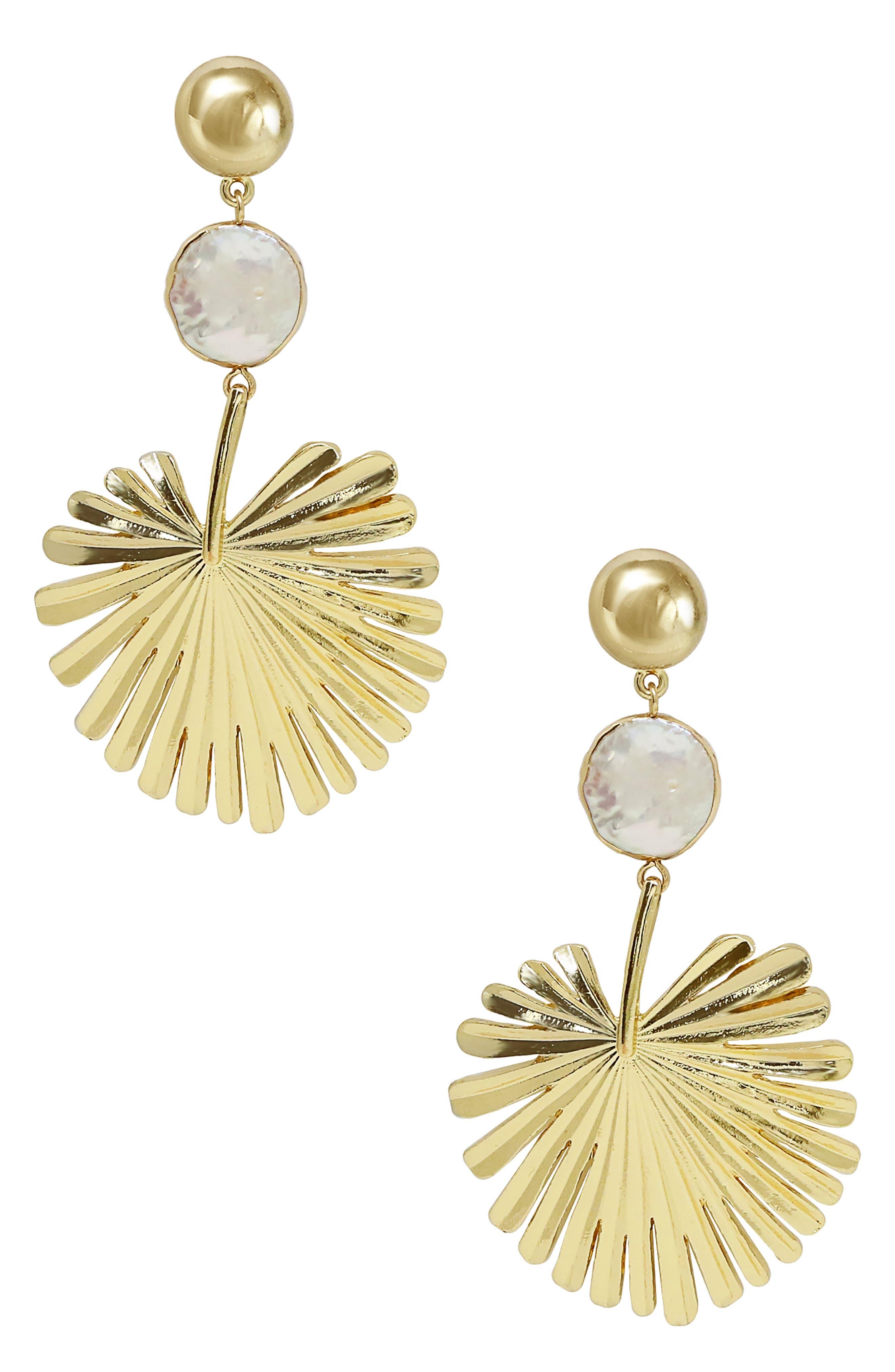 Gold Palm Leaf Freshwater Pearl Drop Earrings
