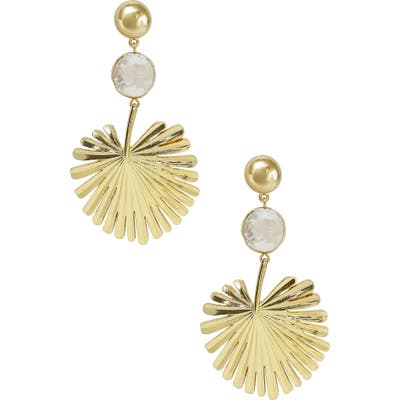 Ettika Gold Palm Leaf Freshwater Pearl Drop Earrings