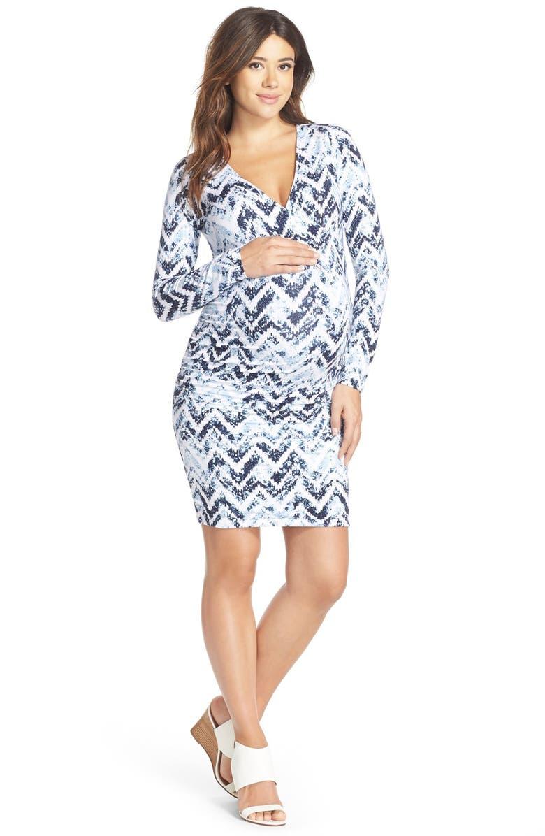 TART MATERNITY Peaches Long Sleeve Body-Con Maternity Dress, Main, color, 423