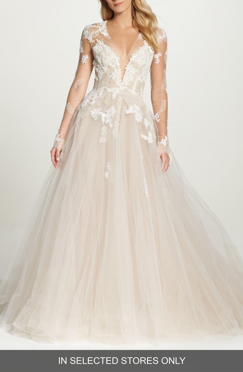 MONIQUE LHUILLIER Rachelle Illusion Long Sleeve Princess Gown, Main, color, LATTE