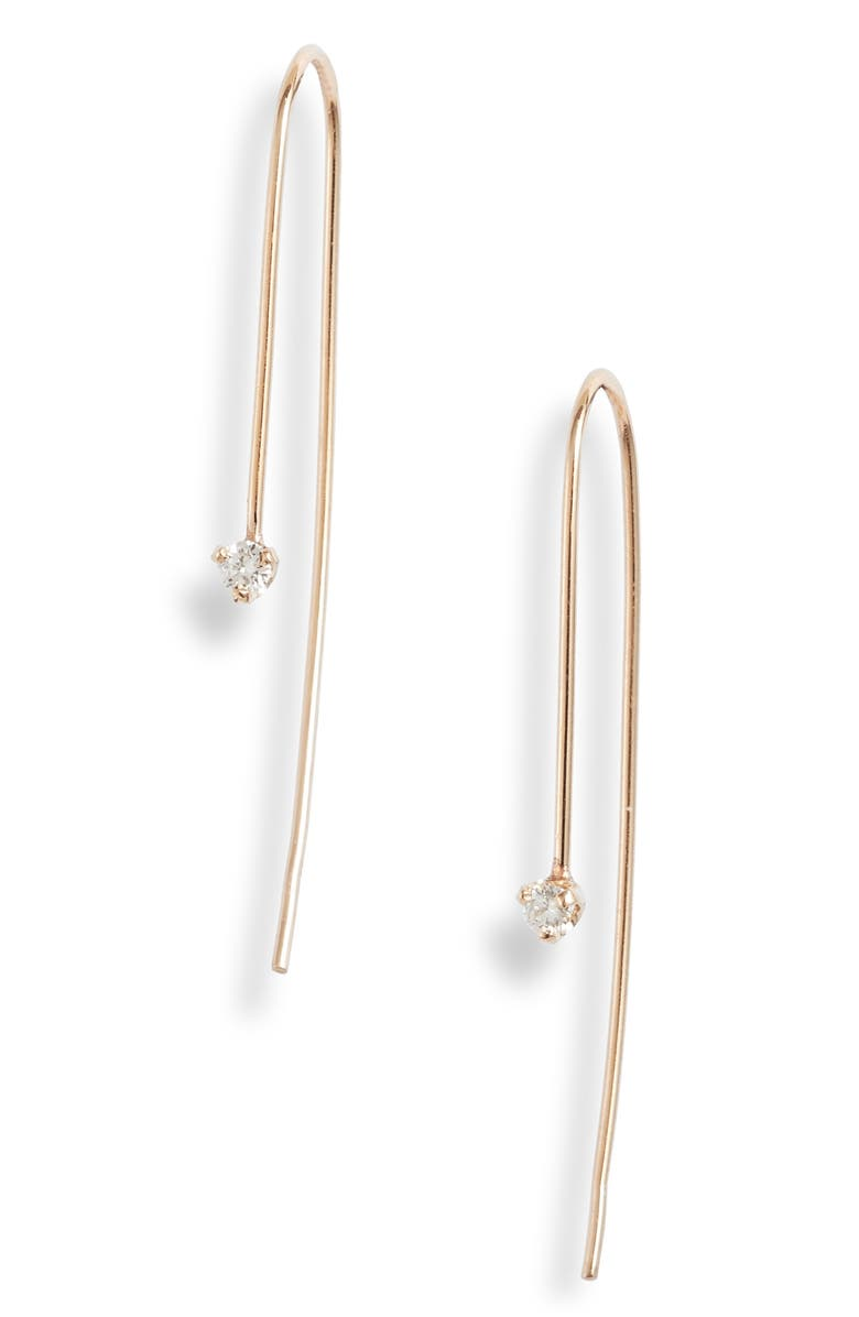 ZOË CHICCO Diamond Threader Earrings, Main, color, YELLOW GOLD/ DIAMOND
