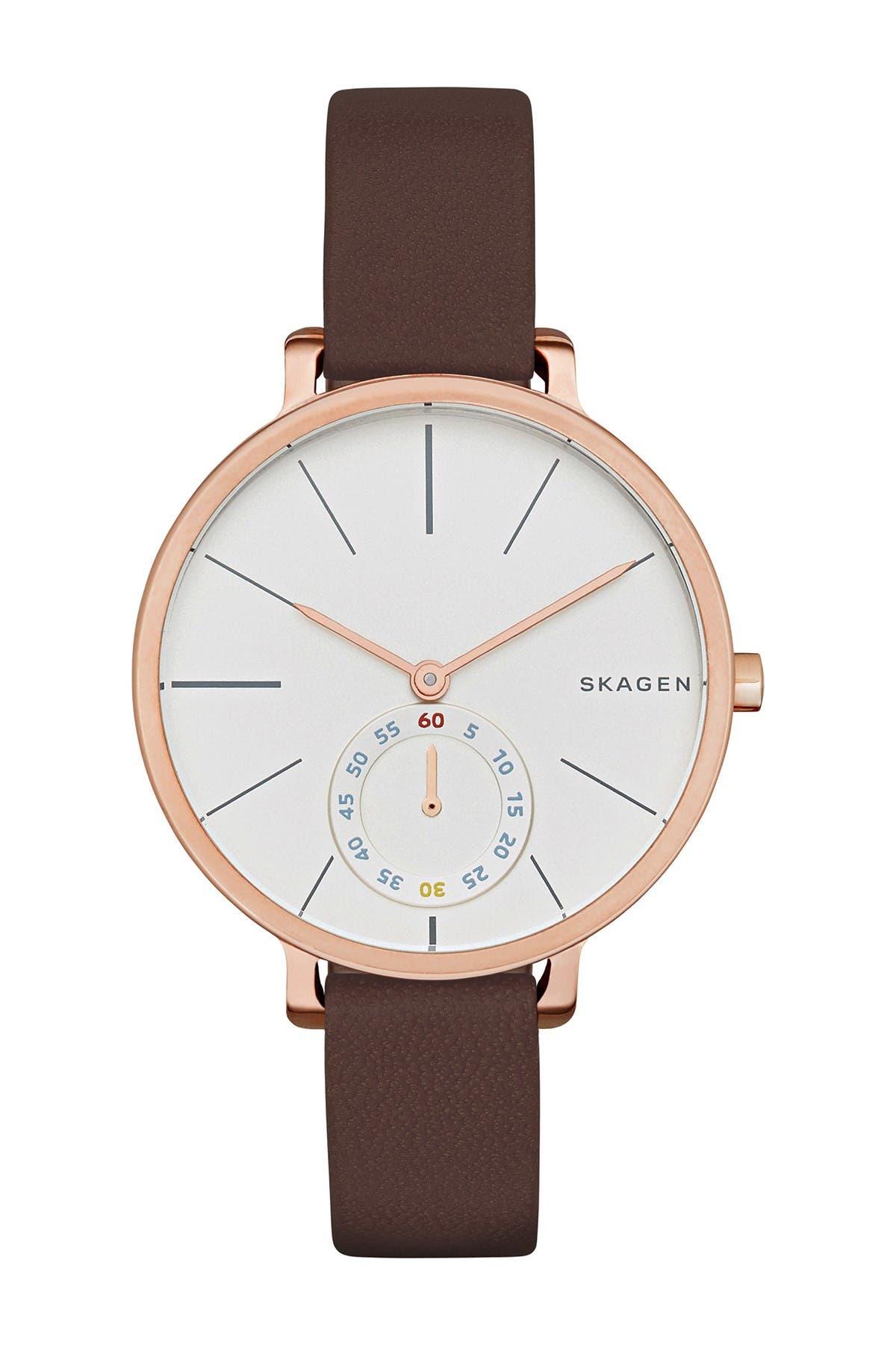 Image of Skagen Women's Hagen Leather Strap Watch, 34mm