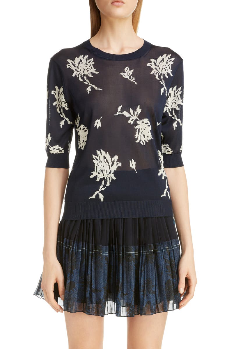 CHLOÉ Floral Intarsia Sweater, Main, color, NAVY