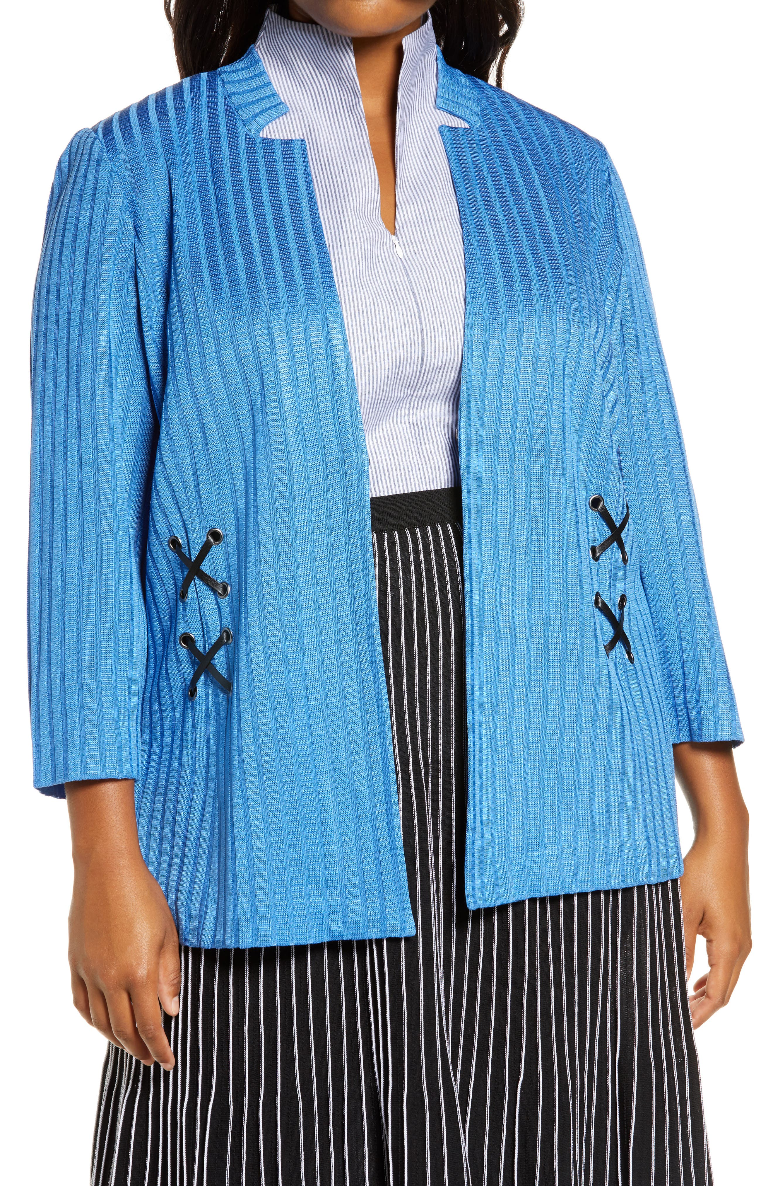 Ming Wang Side Lace Sweater Jacket (Plus Size) | Nordstrom