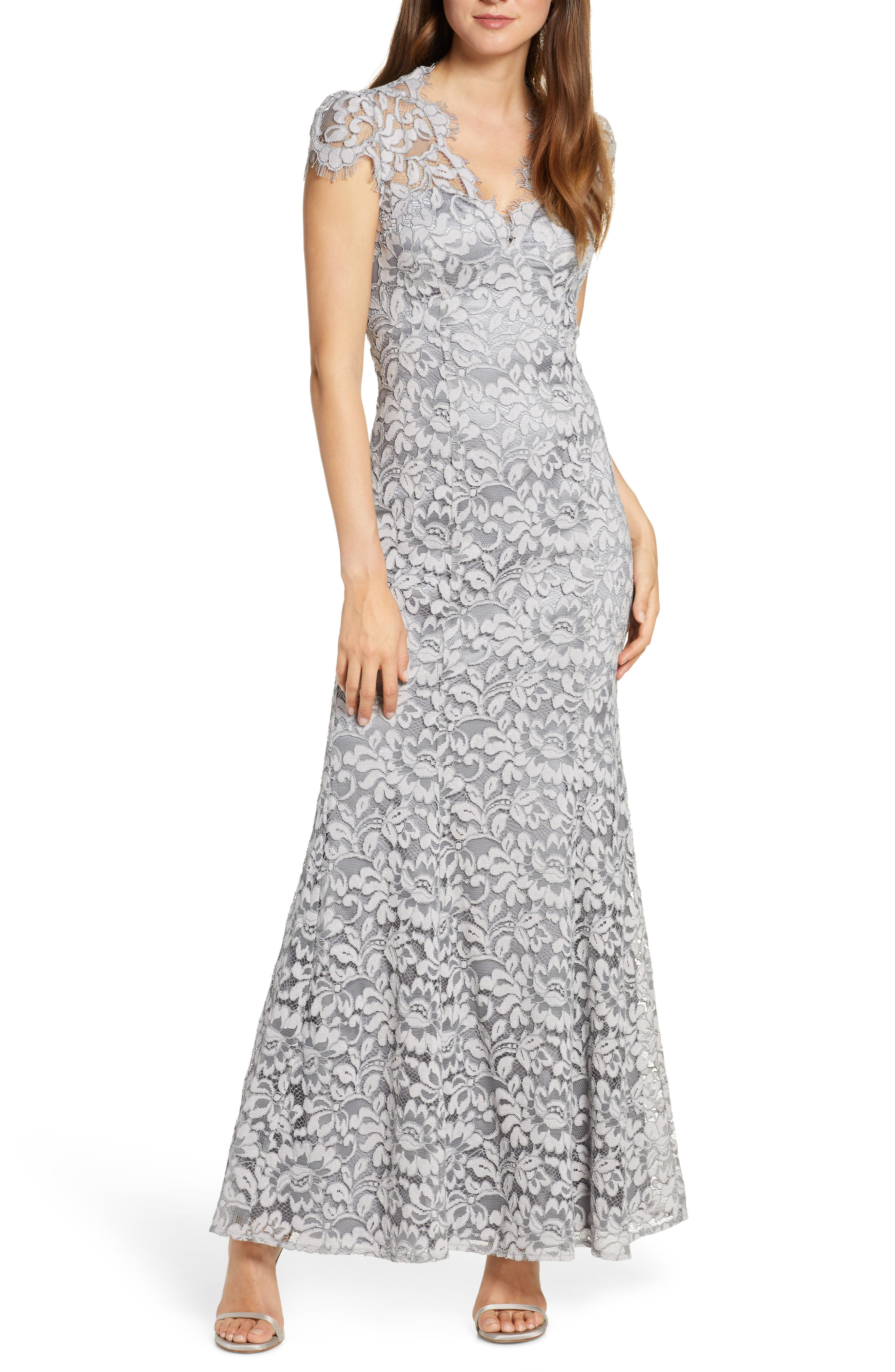Petite Eliza J Embroidered Lace Trumpet Gown, Grey
