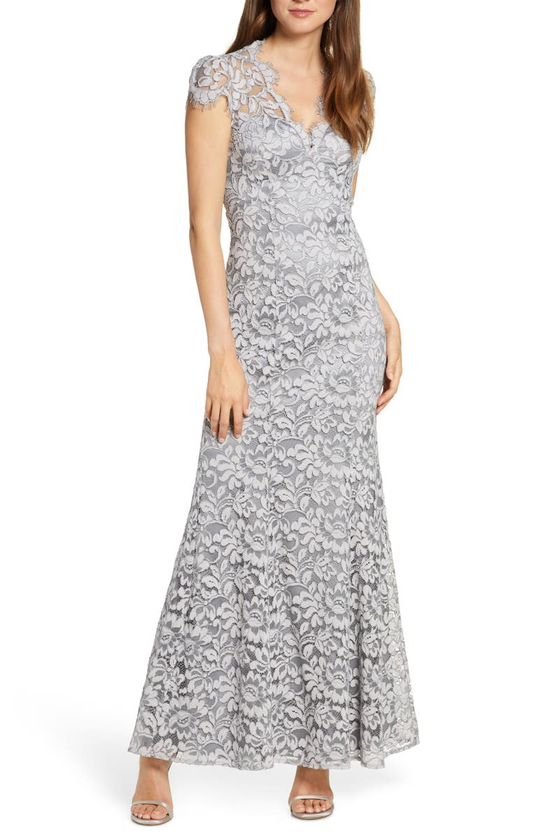 ELIZA J Embroidered Lace Trumpet Gown, Main, color, MIST