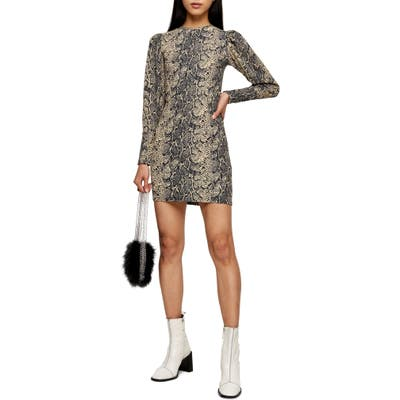 Topshop Puffed Shoulder Long Sleeve Minidress, US (fits like 0) - Brown