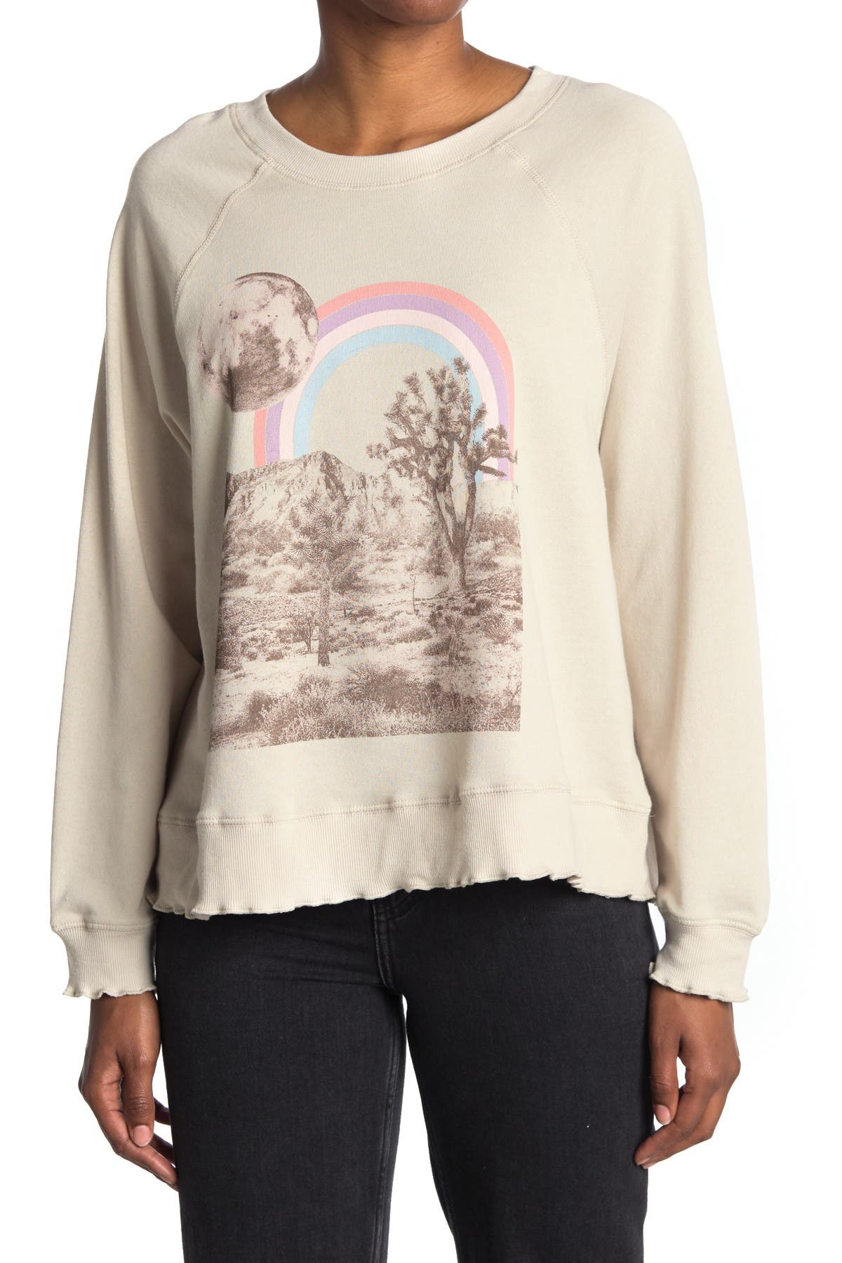 Image of LA LA LAND CREATIVE CO Rainbow Joshua Tree Raglan Pullover