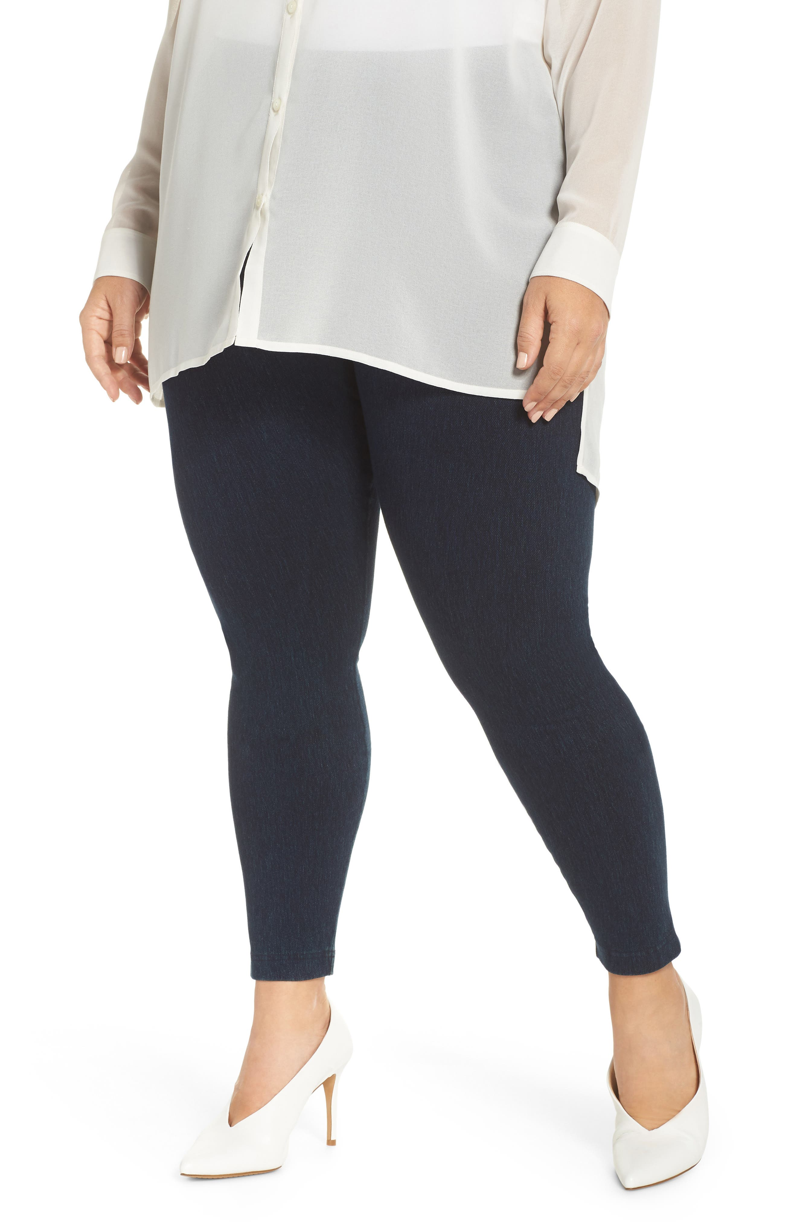 Plus Size Lysse High Rise Stretch Denim Leggings, Blue