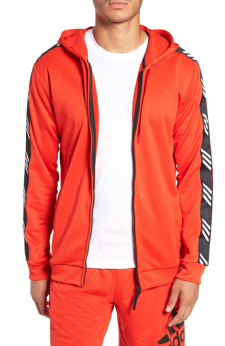 ADIDAS Technical Zip Hoodie, Main, color, ACTIVE RED
