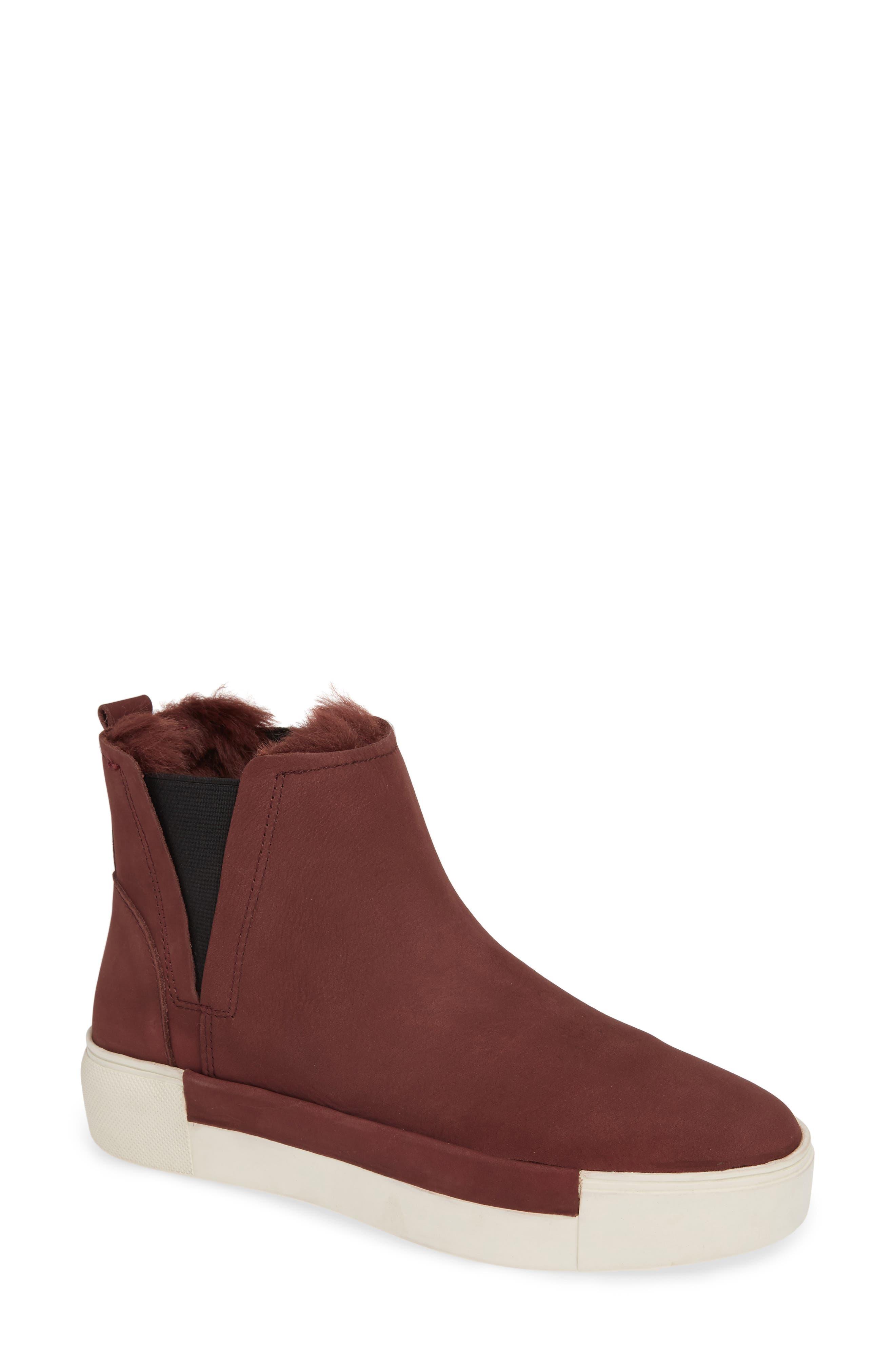Jslides Val Faux Fur Lined Platform Sneaker, Burgundy