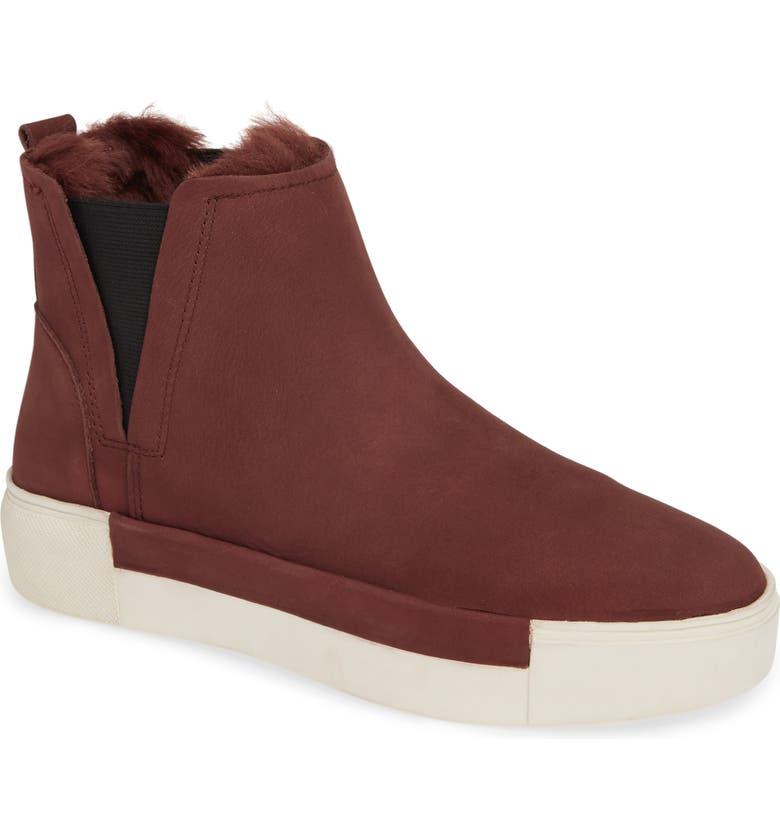 JSLIDES Val Faux Fur Lined Platform Sneaker, Main, color, BURGUNDY NUBUCK