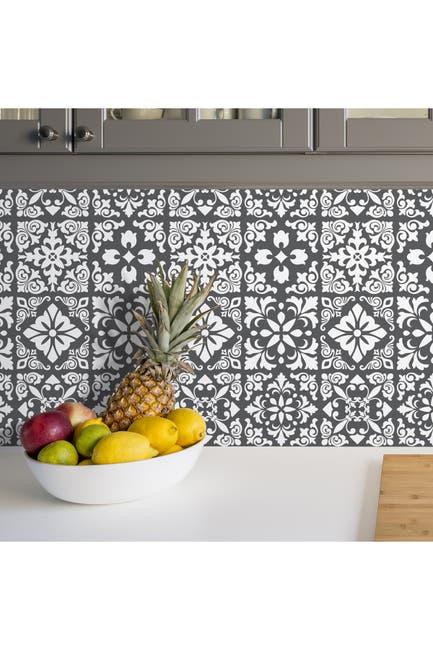 Image of WalPlus Dark Grey Spanish Renaissance Tiles Wall Stickers 24-Piece Set