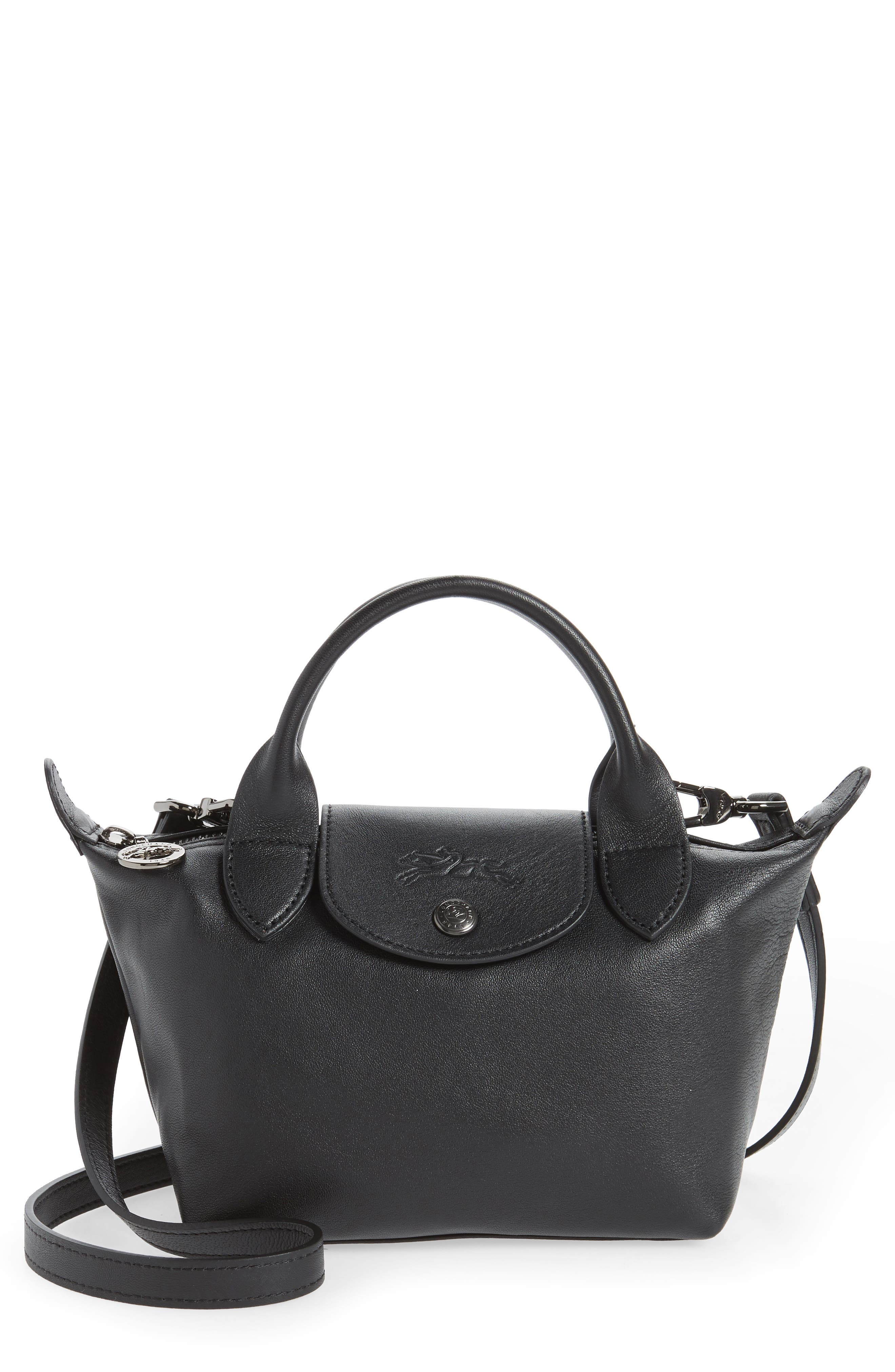 Le Pliage Cuir Leather Top Handle Bag