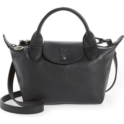 Longchamp Mini Le Pliage Cuir Leather Top Handle Bag - Black