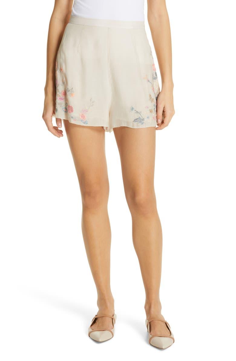 LOVE SAM Jardin Embroidered Shorts, Main, color, 900