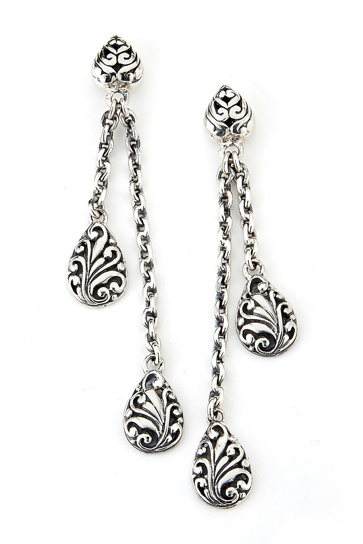 Image of Samuel B Jewelry Sterling Silver Balinese Design Dangling Earrings