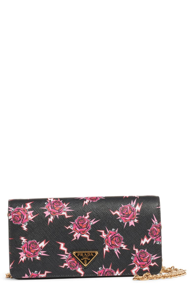 PRADA Rose & Lightning Bolt Leather Wallet on a Chain, Main, color, 622