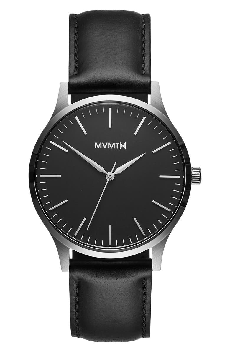 MVMT 40 Series Leather Strap Watch, 40mm, Main, color, 001