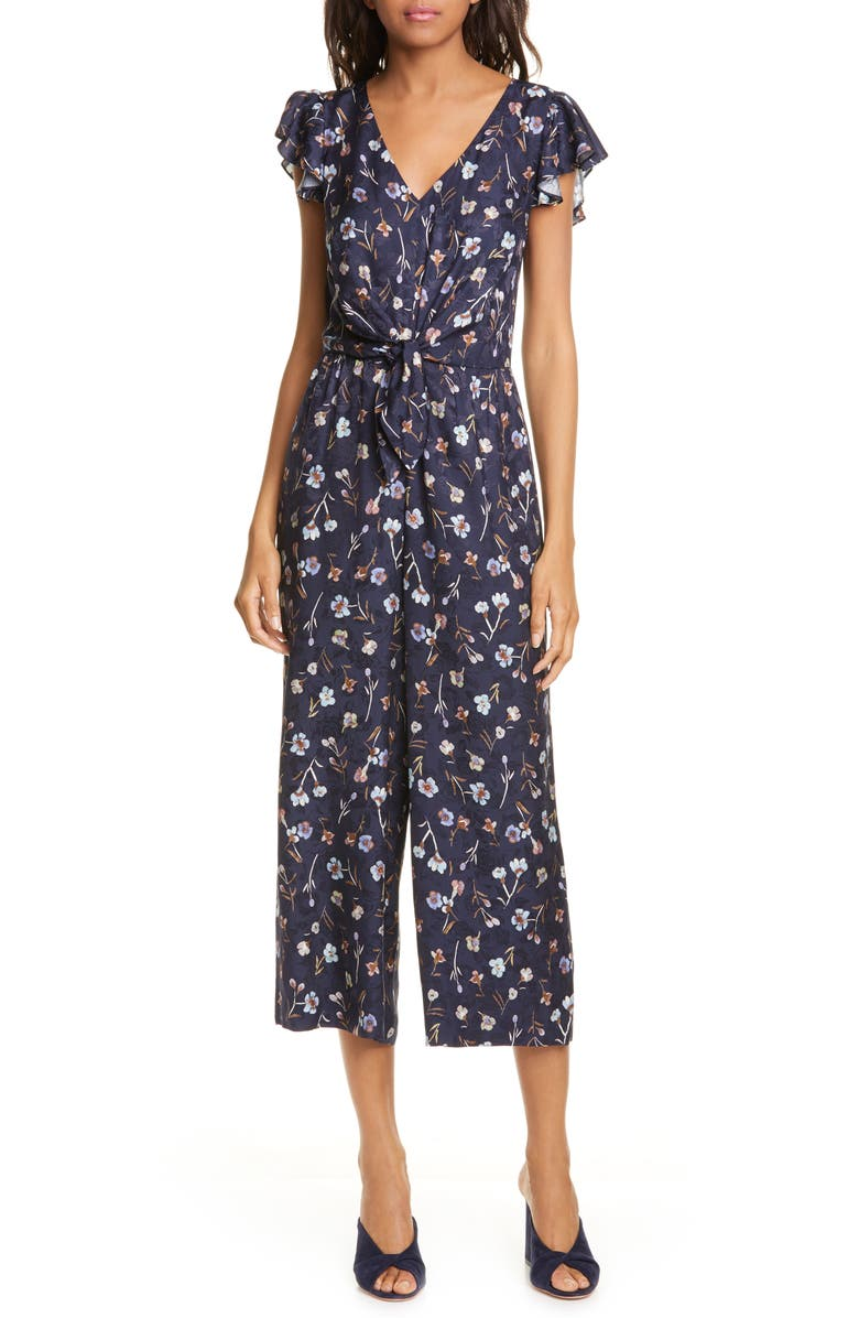 REBECCA TAYLOR Aurelie Tie Floral Silk Blend Jumpsuit, Main, color, NAVY COMBO