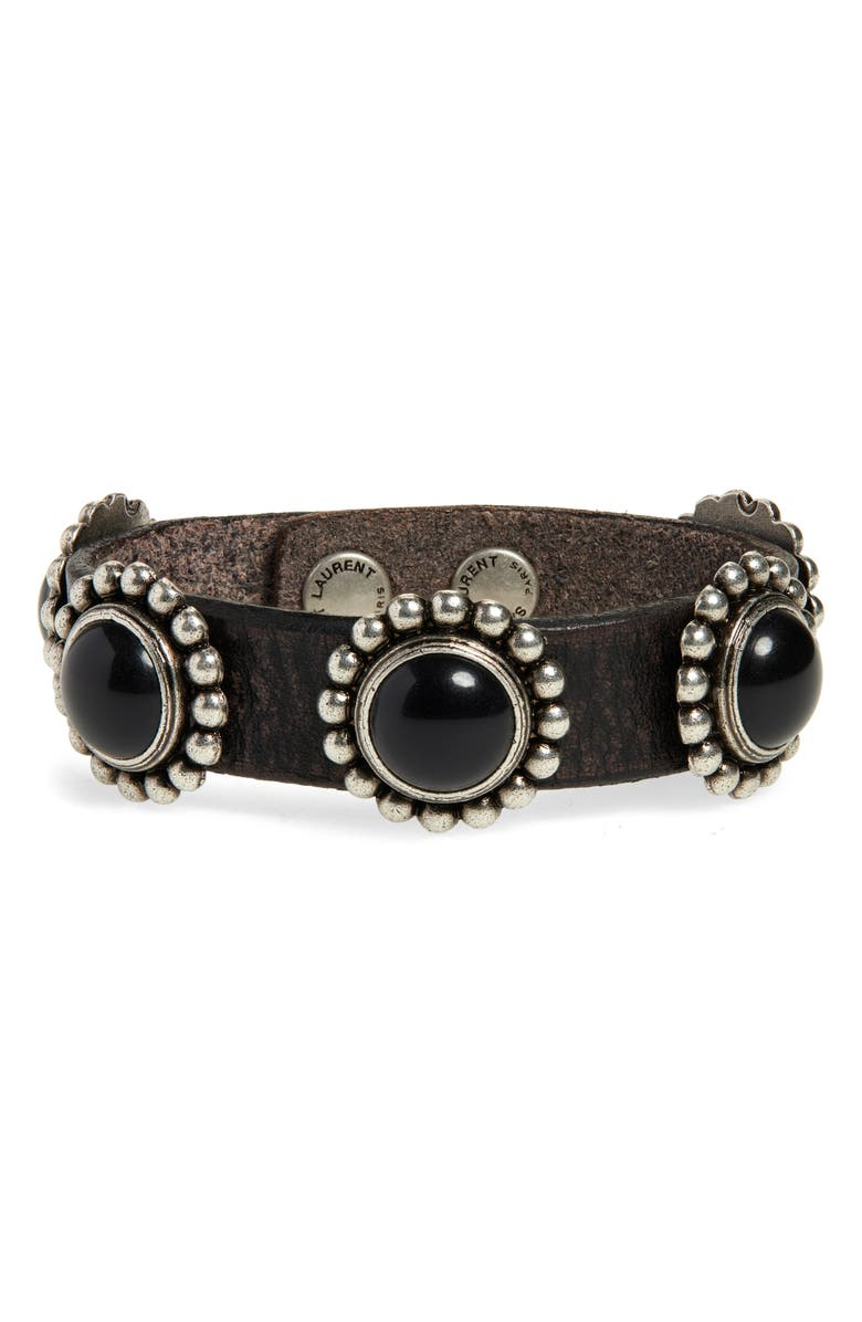SAINT LAURENT Multi Cabochons Bracelet, Main, color, NERO/ MULTI