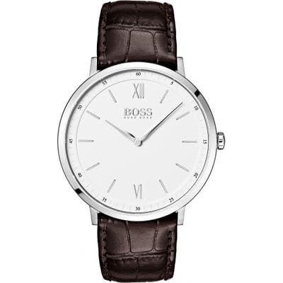 Boss Essential Ultra Slim Leather Strap Watch, 40Mm