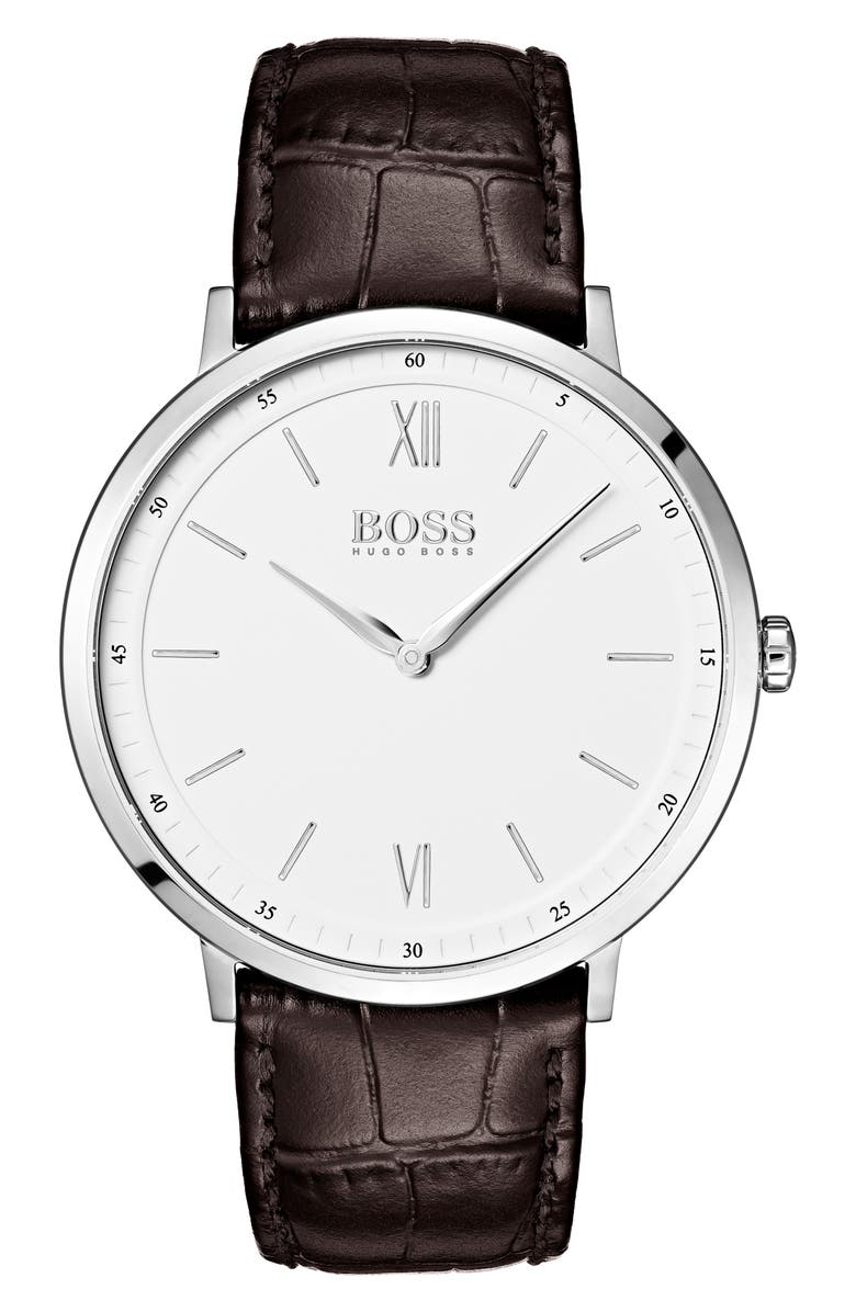 BOSS Essential Ultra Slim Leather Strap Watch, 40mm, Main, color, WHITE