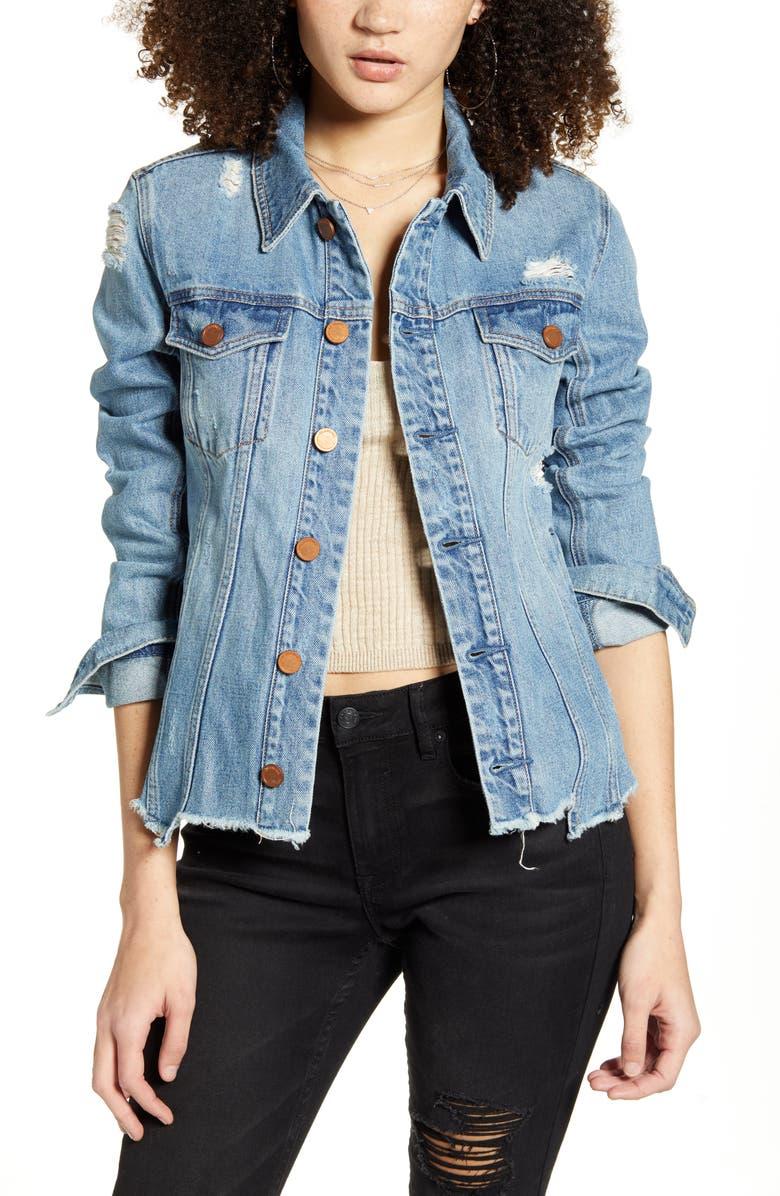 BLANKNYC Distressed Denim Jacket, Main, color, 400