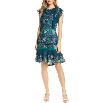 Adelyn Rae Annie Lace Cocktail Dress, Blue/green