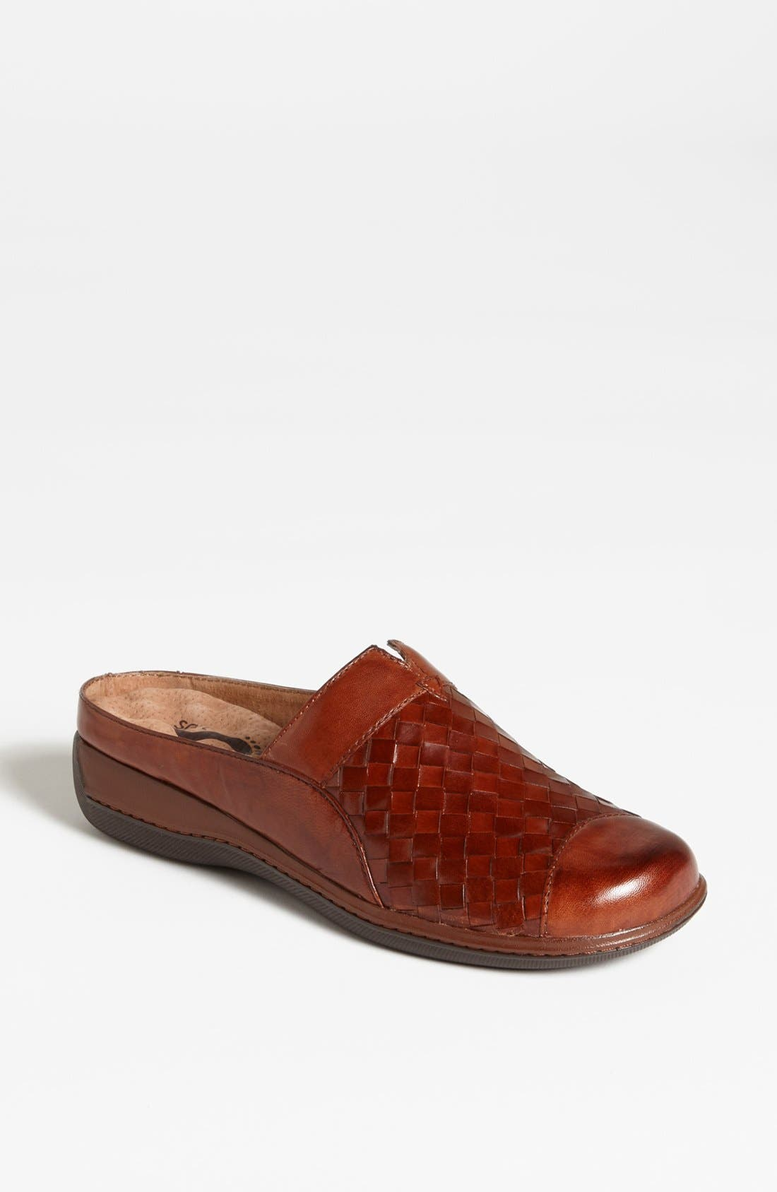 Slip into a burnished leather clog with a woven, hand-finished upper for the perfect pairing of style and comfort. SoftWalk\\\'s patented eggcrate footbed keeps your heels happy, while a thick wedge adds a smidge of stature. Style Name: Softwalk \\\'san Marcos\\\' Clog. Style Number: 901288. Available in stores.