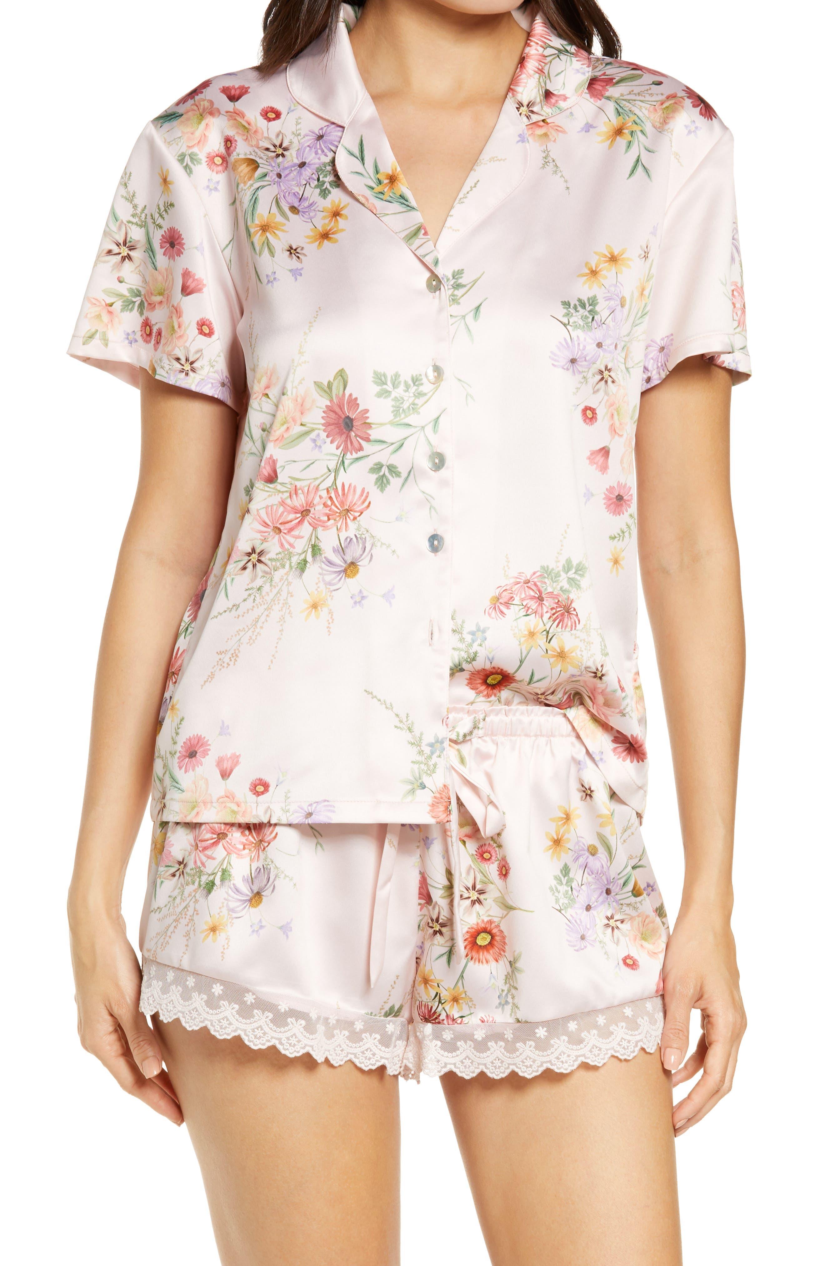 Women's Flora Nikrooz Jolene Floral Print Charmeuse Short Pajamas