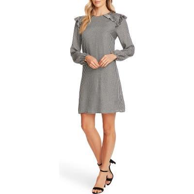 Cece Gingham Refresh Pleat Detail Long Sleeve Dress, Ivory