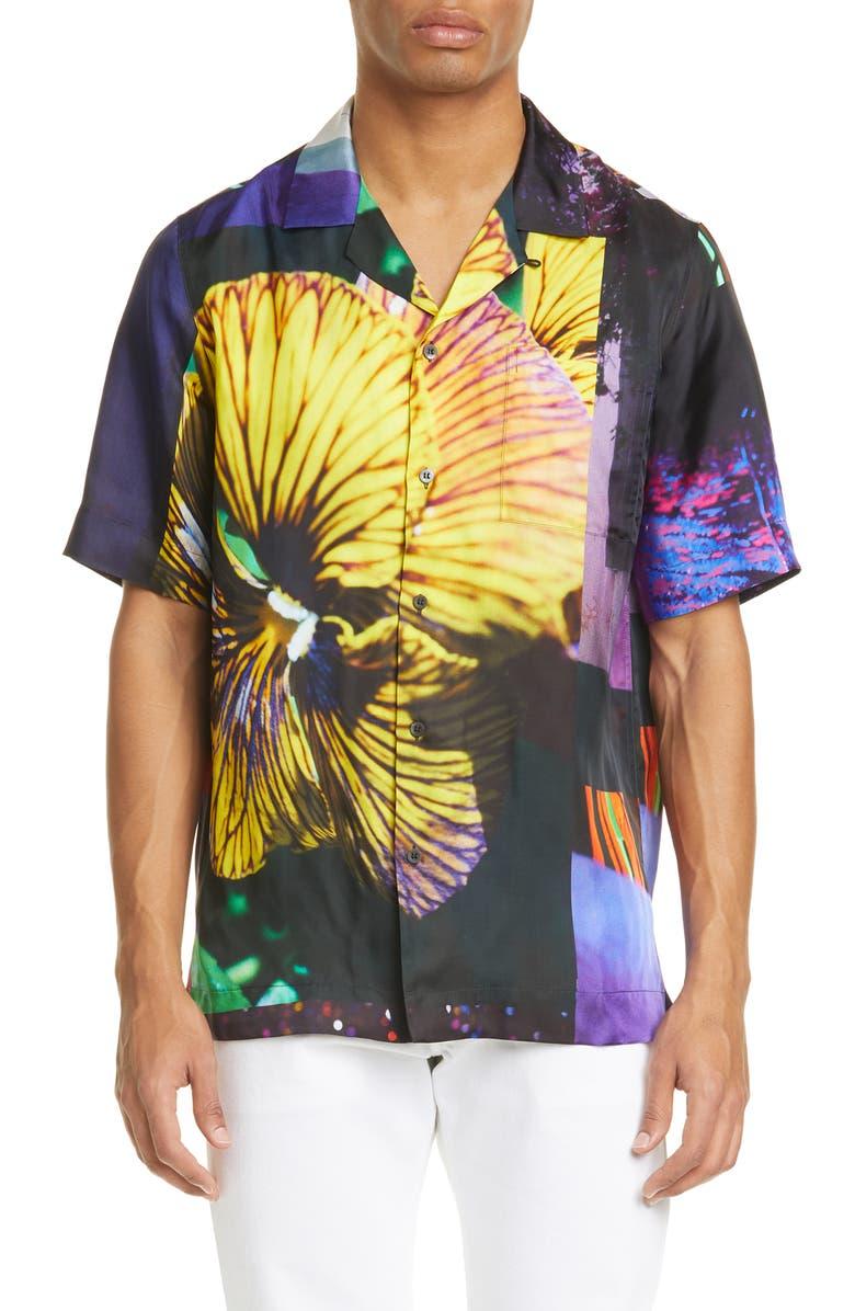 DRIES VAN NOTEN Carltone Floral Short Sleeve Button-Up Shirt, Main, color, DESA