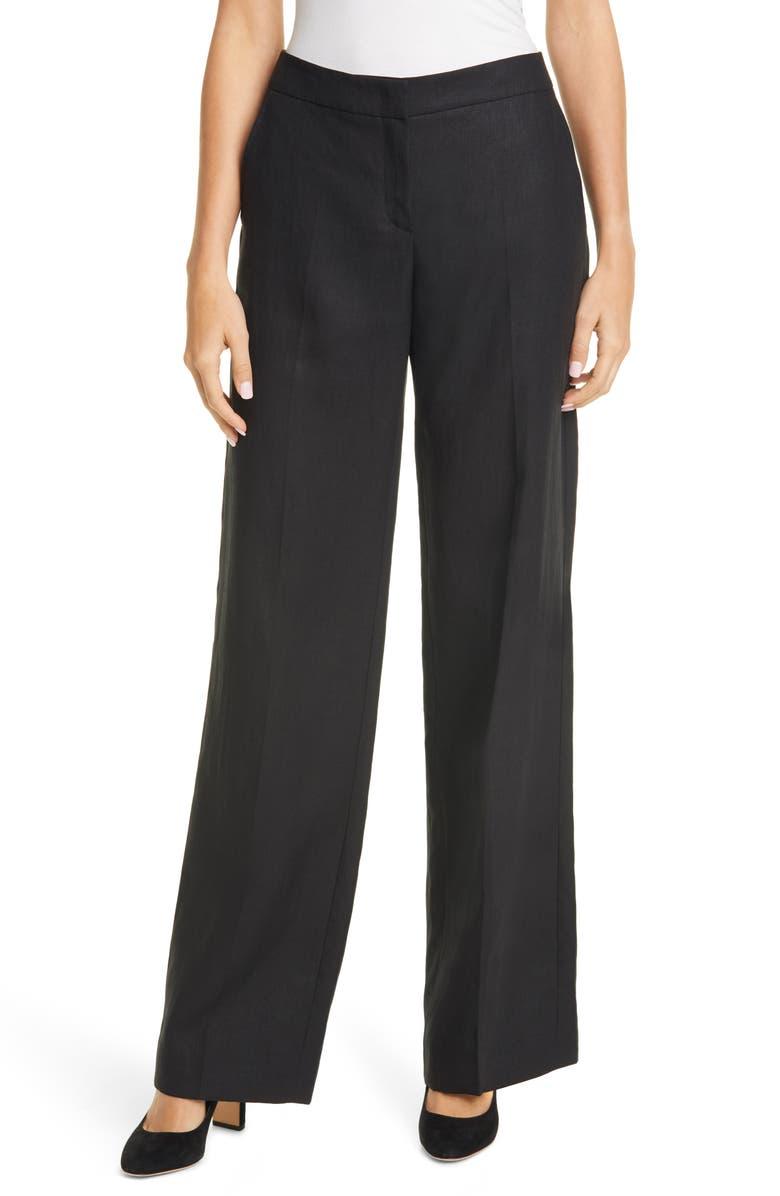MAX MARA Canneti Linen Trousers, Main, color, 001