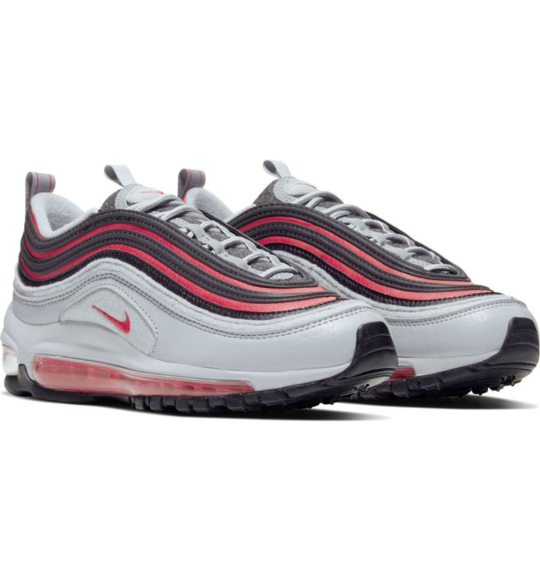 NIKE Air Max 97 Sneaker, Main, color, WOLF GREY/ BLACK/ RED ORBIT