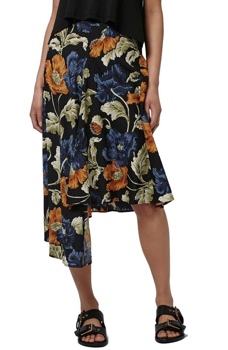 TOPSHOP Floral Print Asymmetrical Skirt, Main, color, 001