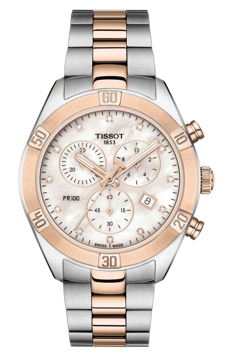 TISSOT PR 100 Diamond Chronograph Bracelet Watch, 38mm, Main, color, 040