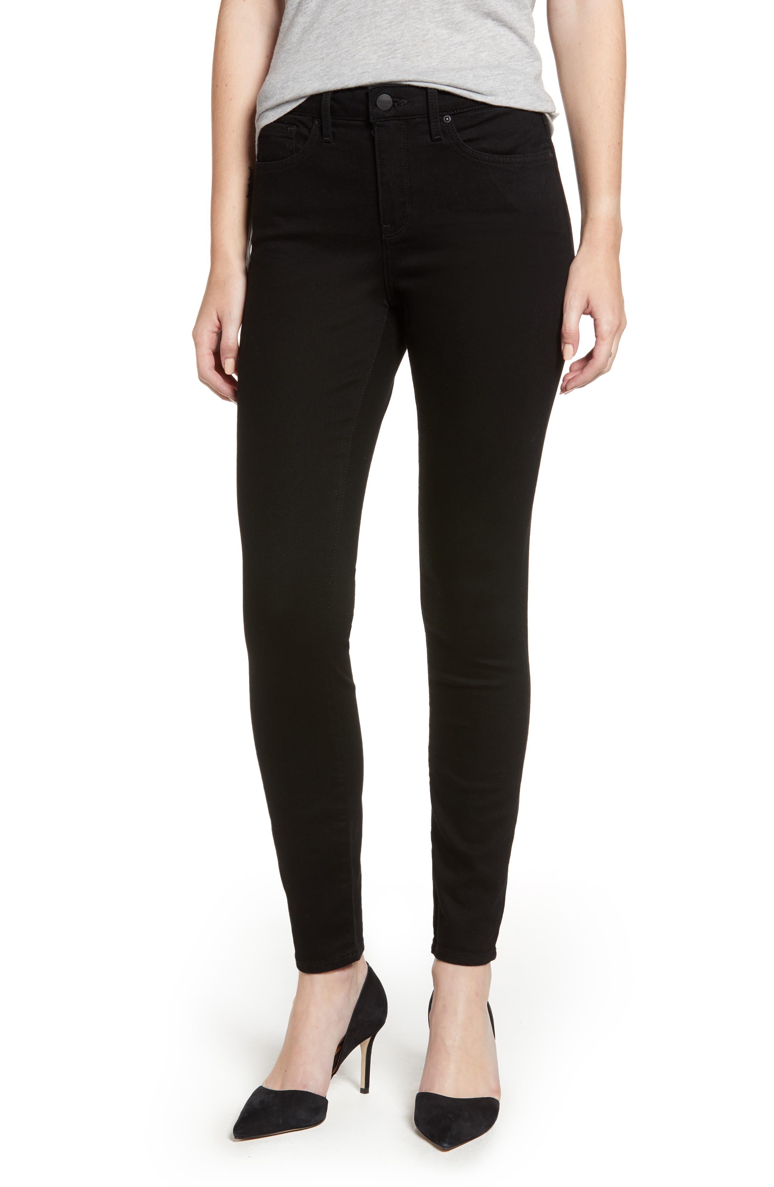 Ami High Waist Stretch Super Skinny Jeans, Main, color, BLACK