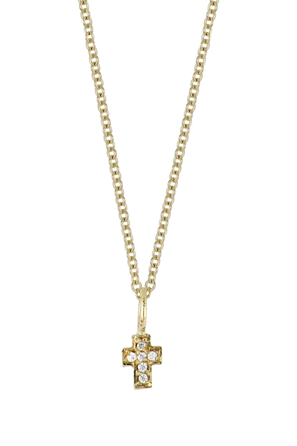 Image of Bony Levy 18K Yellow Gold Diamond Cross Pendant Necklace - 0.02 ctw