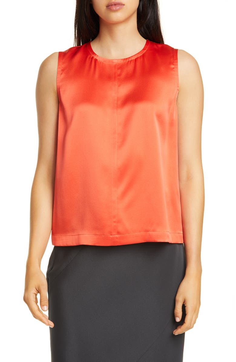 EILEEN FISHER Silk Tank, Main, color, RED LORY