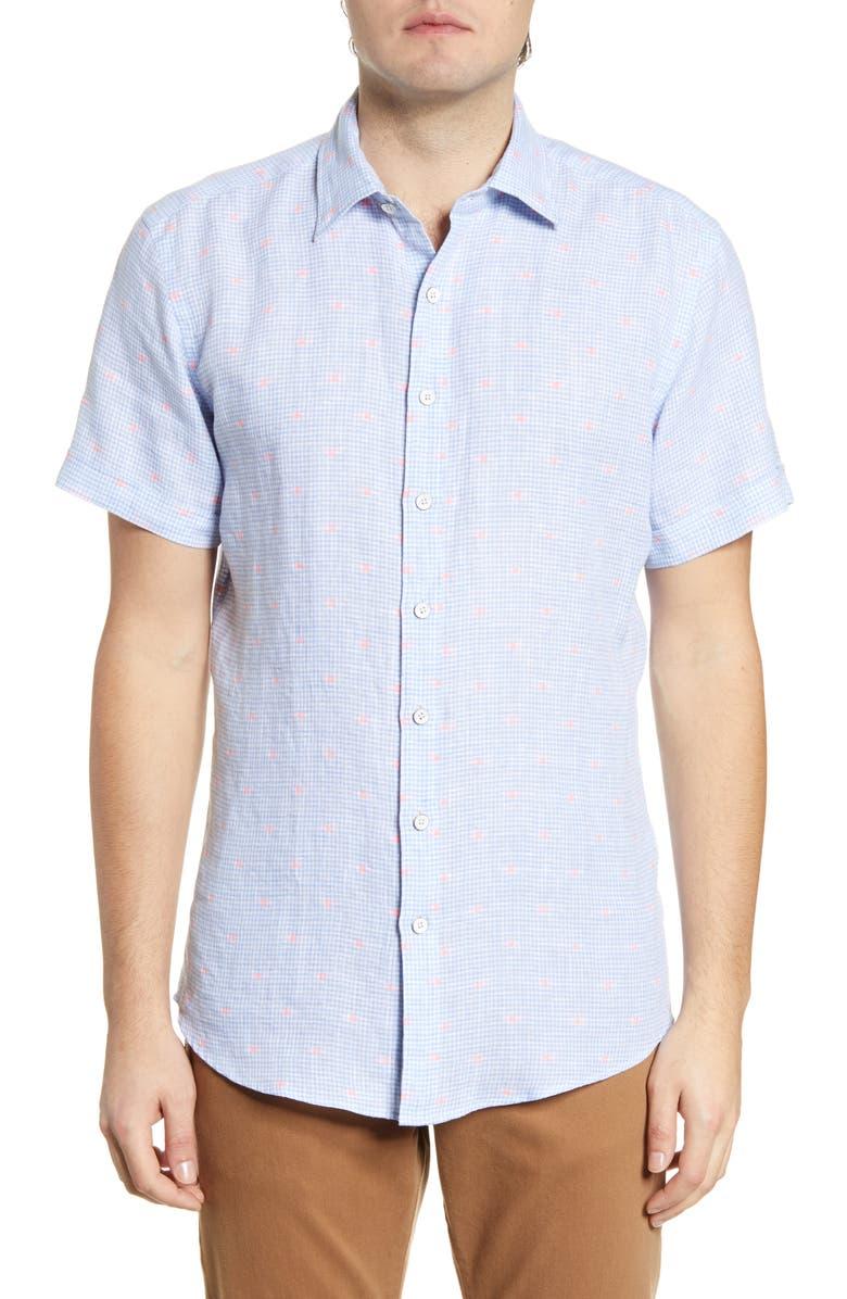 RODD & GUNN Bidwells Sport Fit Gingham Short Sleeve Linen Blend Button-Up Shirt, Main, color, SKY