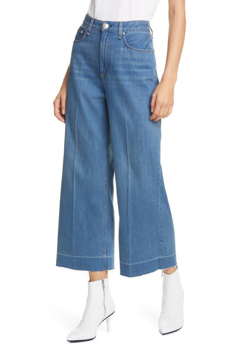RAG & BONE Ruth Super High Waist Raw Crop Wide Leg Jeans, Main, color, 420
