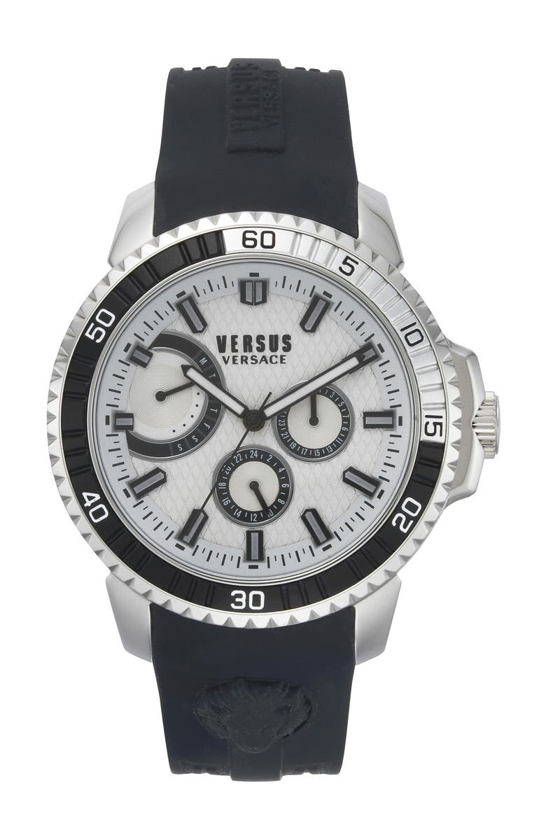 VERSUS VERSACE Aberdeen Silicone Strap Watch, 45mm, Main, color, 001