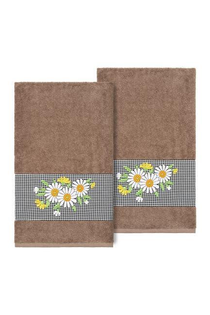 Image of LINUM HOME Daisy Embellished Bath Towel - Set of 2 - Latte