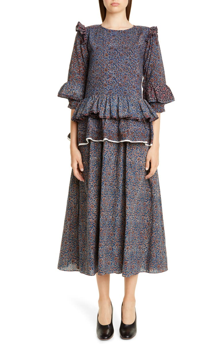 STORY MFG. Tulsi Ajrakh Floral Block Print Ruffle Midi Dress, Main, color, INDIGO AJRAKH MIX