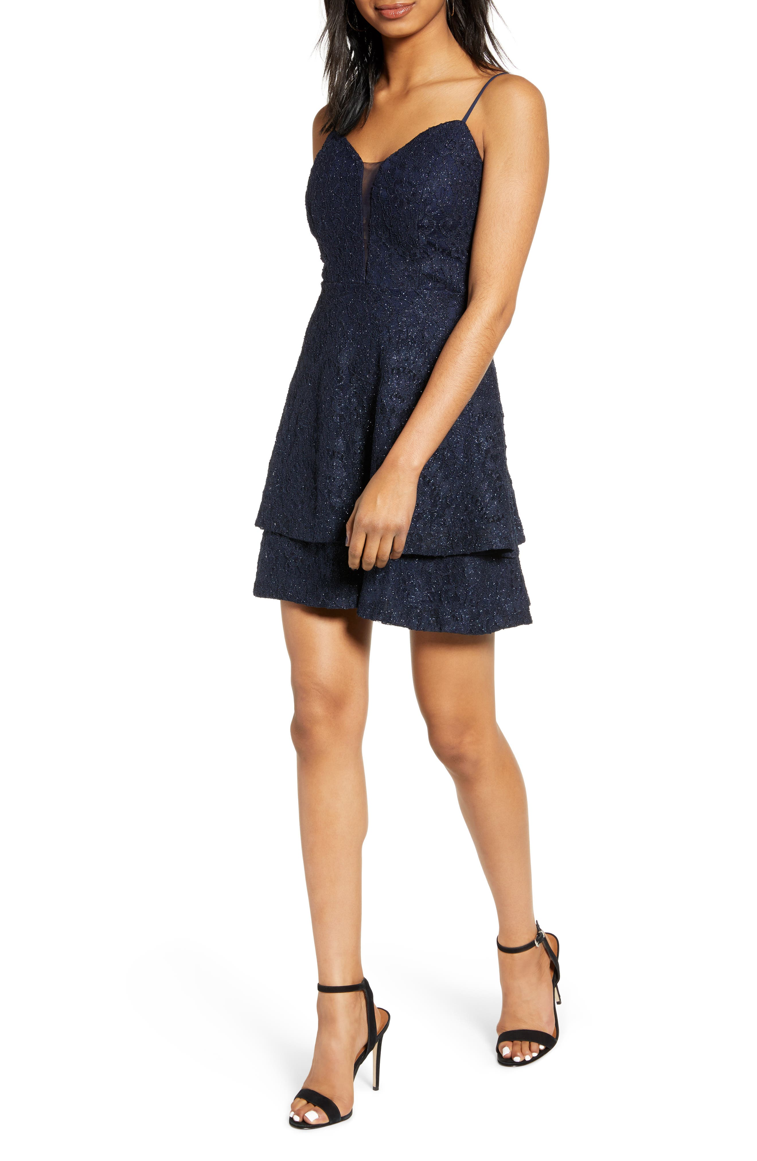 Speechless Tiered Shimmer Lace Skater Dress, Blue