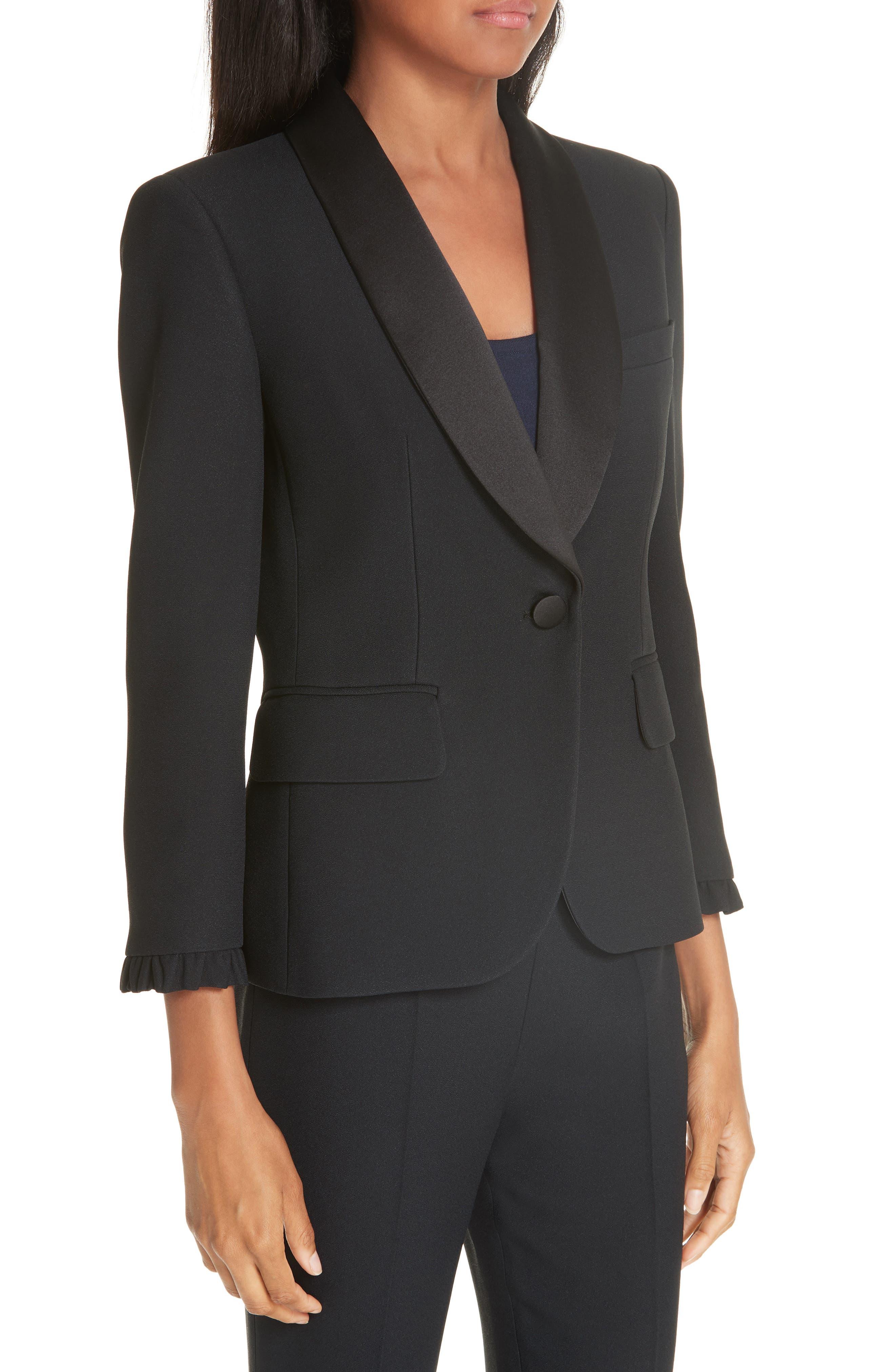 ,                             Ruffle Cuff Double Crepe Sable Tuxedo Jacket,                             Alternate thumbnail 4, color,                             BLACK